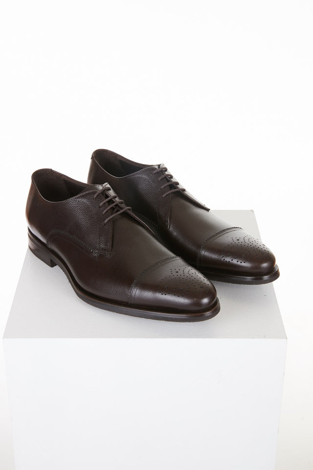 Canali Chocolate Perforated Cap-toe Shoe