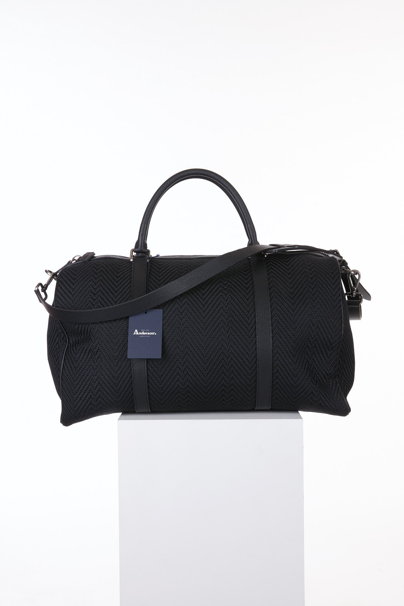 Anderson's Black Woven Duffle Bag Back