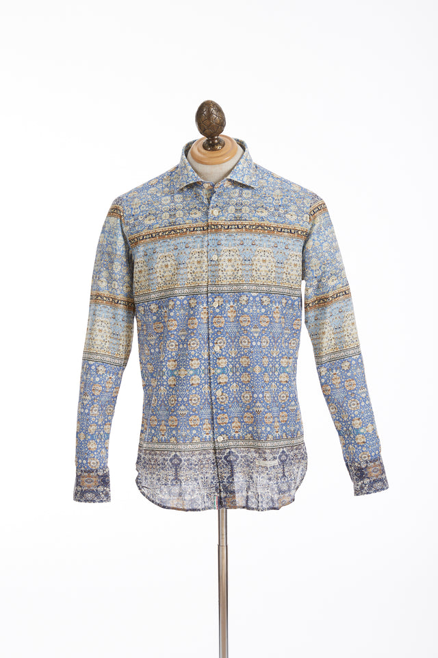 Tintoria Mattei Ultralight Tapestry Print Teal Cotton Shirt