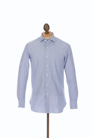 Boglioli Striped Cotton Dress Shirt. Slim-Fit, Spread Collar, Blue & White Stripes.
