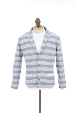 Eleventy Grey Striped Sweater Jacket
