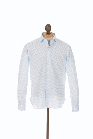 Culturata Light Blue Circular Dor Print Shirt Front