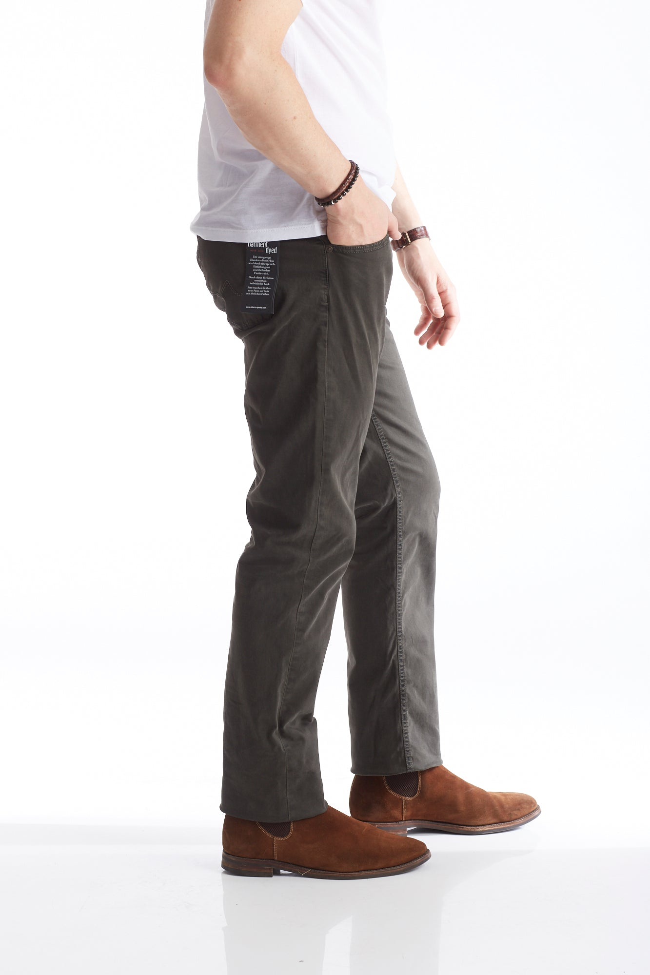 Alberto Moss Green 5-Pocket Pants Side
