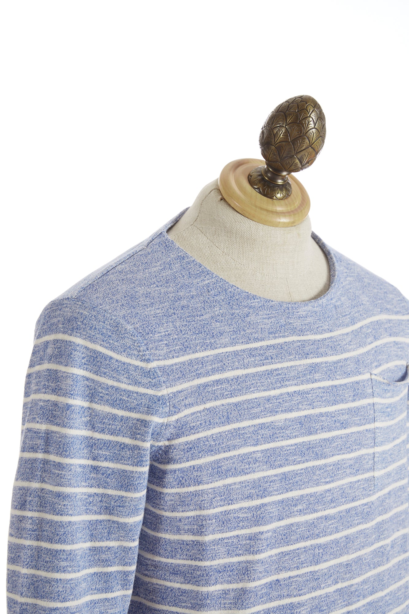 Benson Lightweight Blue Cotton Striped Crewneck - Sweaters - Benson - LALONDE's
