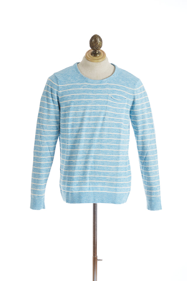 Benson Lightweight Sky Blue Cotton Striped Crewneck - Sweaters - Benson - LALONDE's