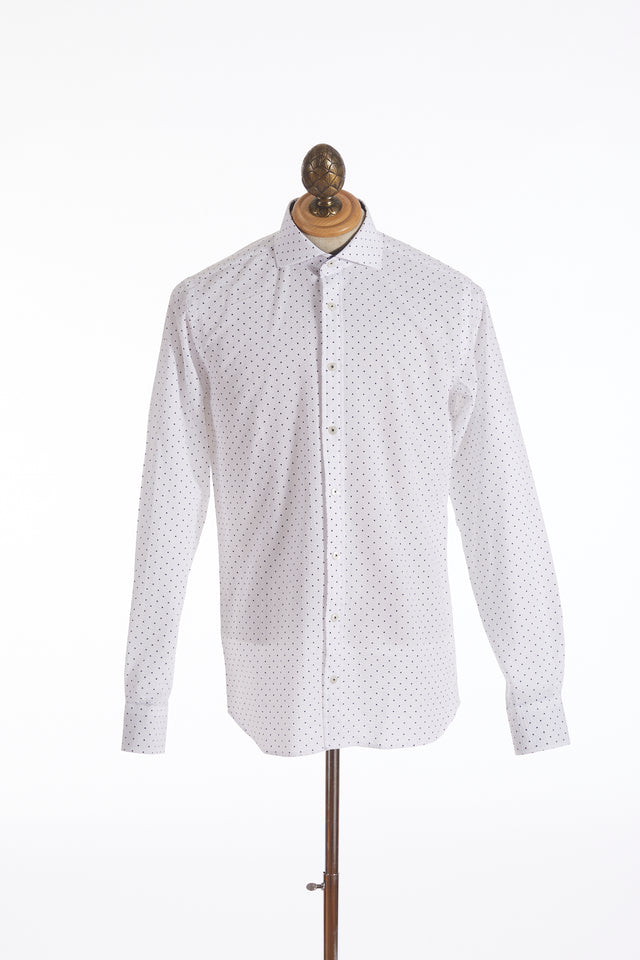 Blazer for Men White Seersucker Navy Dot Print Shirt - Shirts - Blazer For Men - LALONDE's