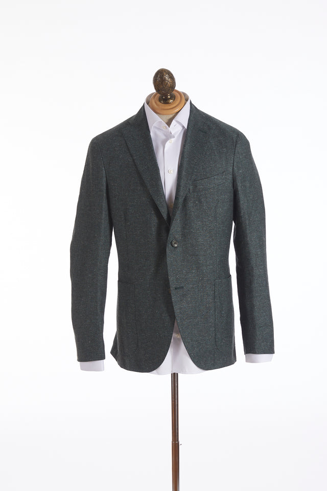 Boglioli 'K-Jacket' Green Linen-Silk Donegal Sport Jacket