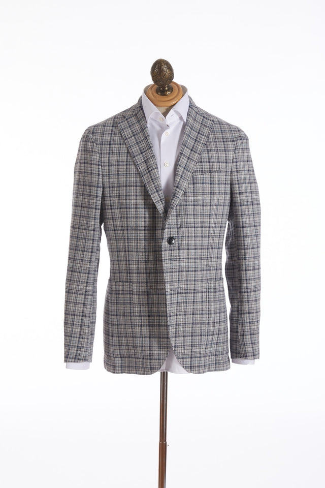 Boglioli 'K-Jacket' Grey and Navy Windowpane Sport Jacket - Sport Jackets - Boglioli - LALONDE's