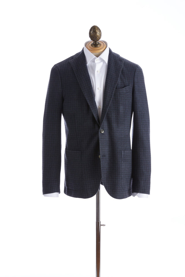 Boglioli 'K-Jacket' Plush Navy Wool Check Sport Jacket