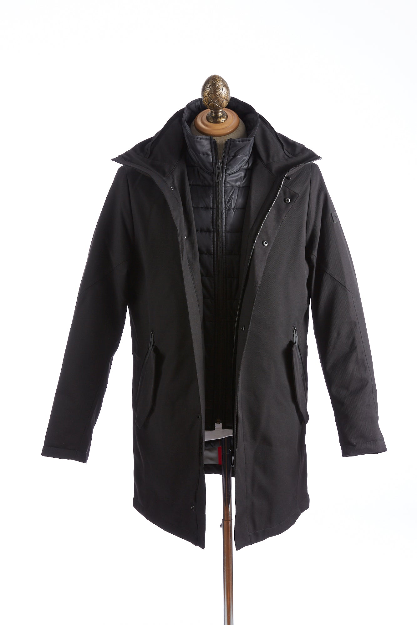 Bugatti Black Waterproof Hooded Parka Open