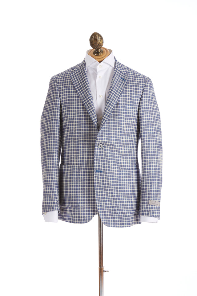 Canali Blue and White Check Sport Jacket