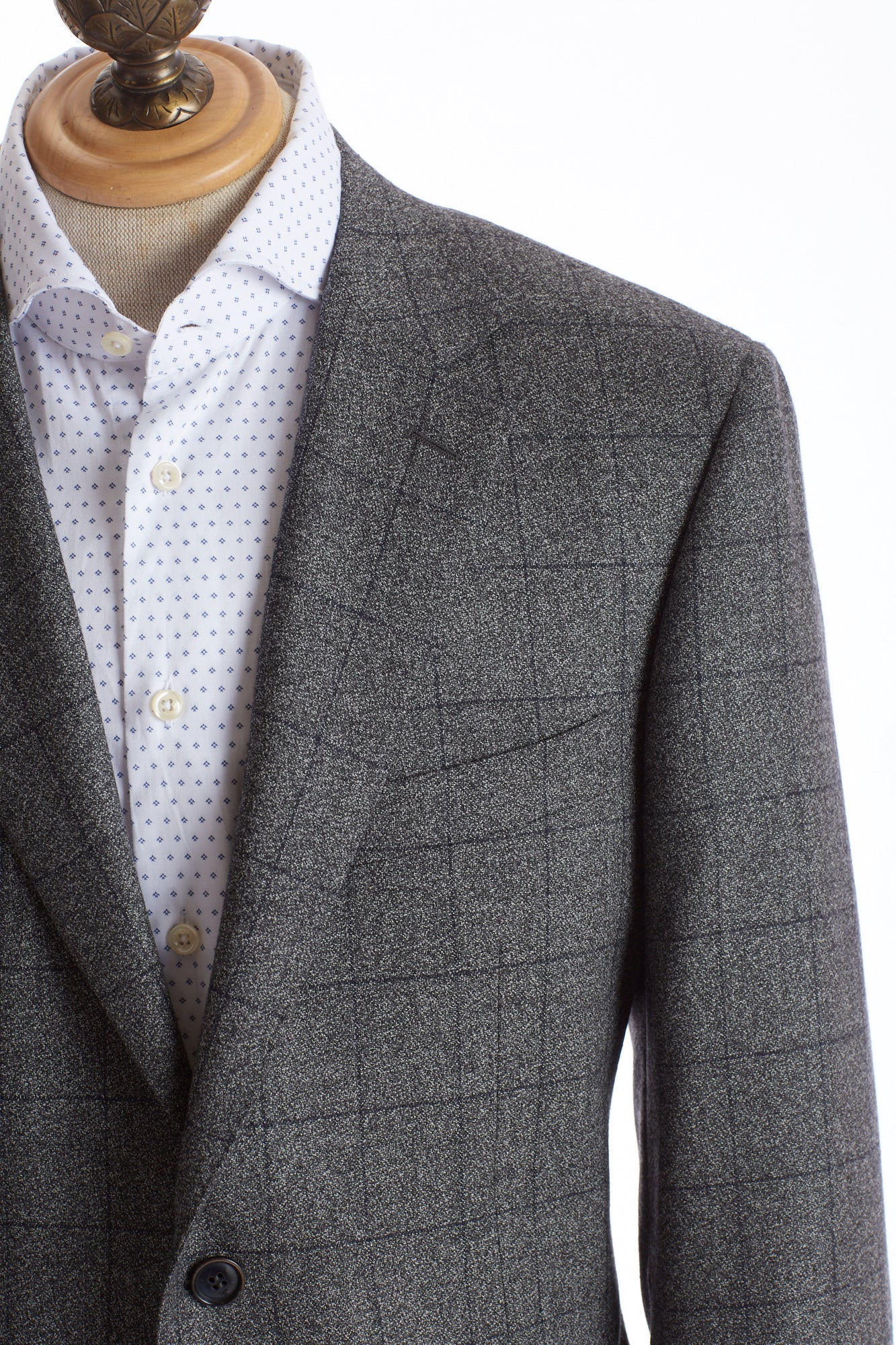 Canali Grey Windowpane Suit Lapel
