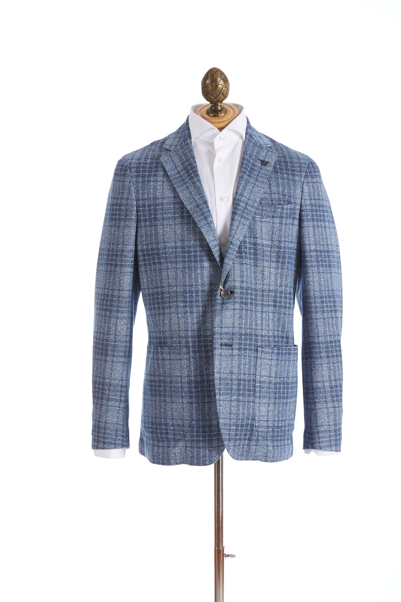 Canali Light Blue Glen Check Sport Jacket