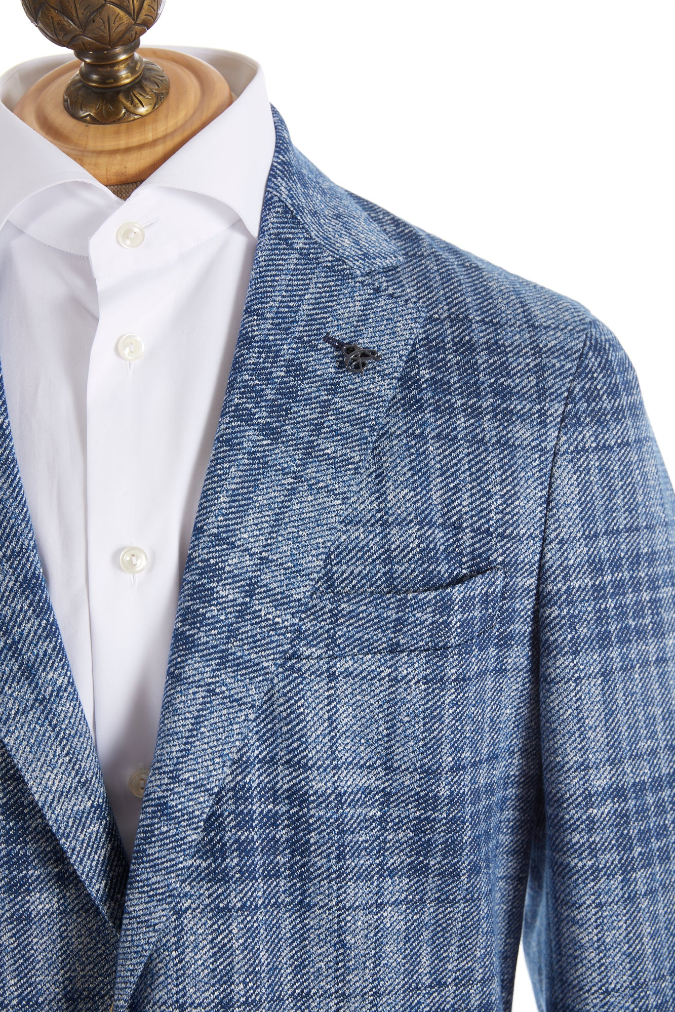 Canali Light Blue Glen Check Sport Jacket Lapel