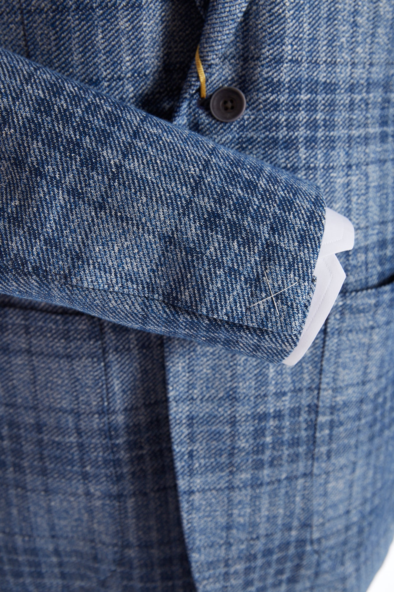Canali Light Blue Glen Check Sport Jacket Sleeve