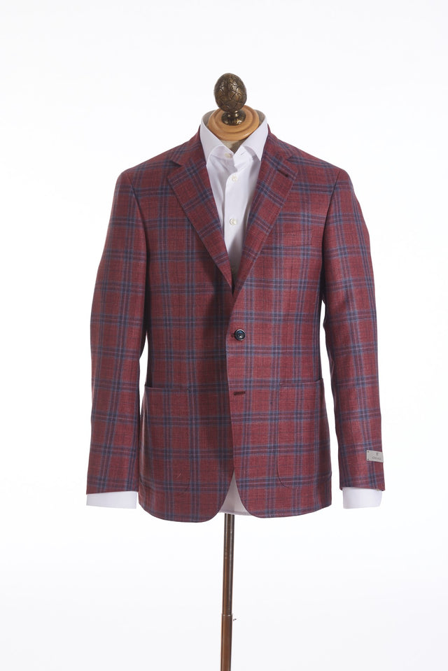 Canali Red Windowpane Loro Piana Sport Jacket
