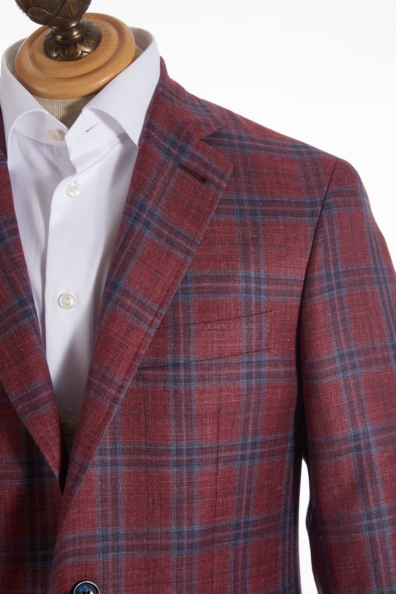 CANALI LALONDE's RED GLENCHECK SILK LINEN SPORT JACKET