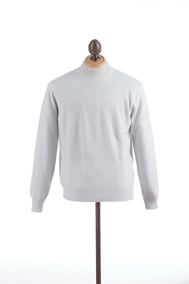 Cruciani Icy White Cashmere Crewneck Sweater