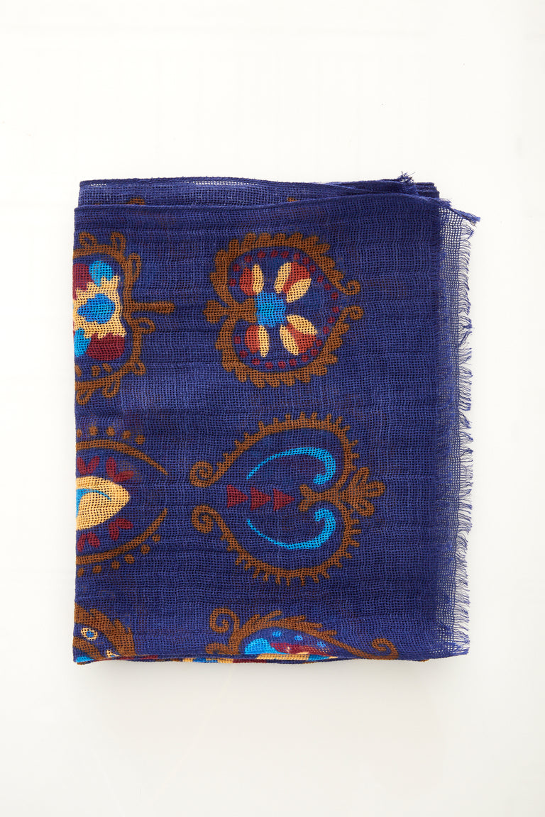 Drake's Blue Wool Silk Printed Scarf - Accessories - Drake's - LALONDE's
