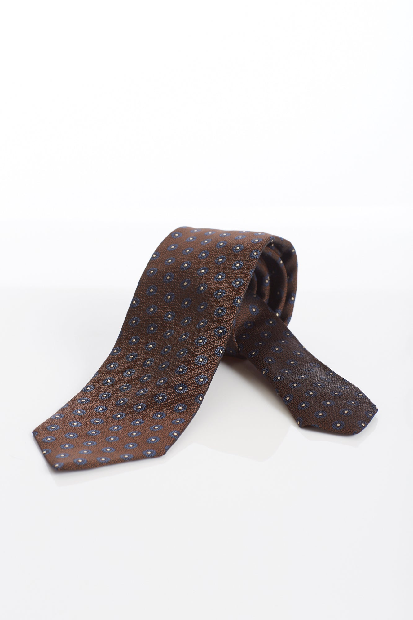 Drake's Brown Flower Print Silk Tie