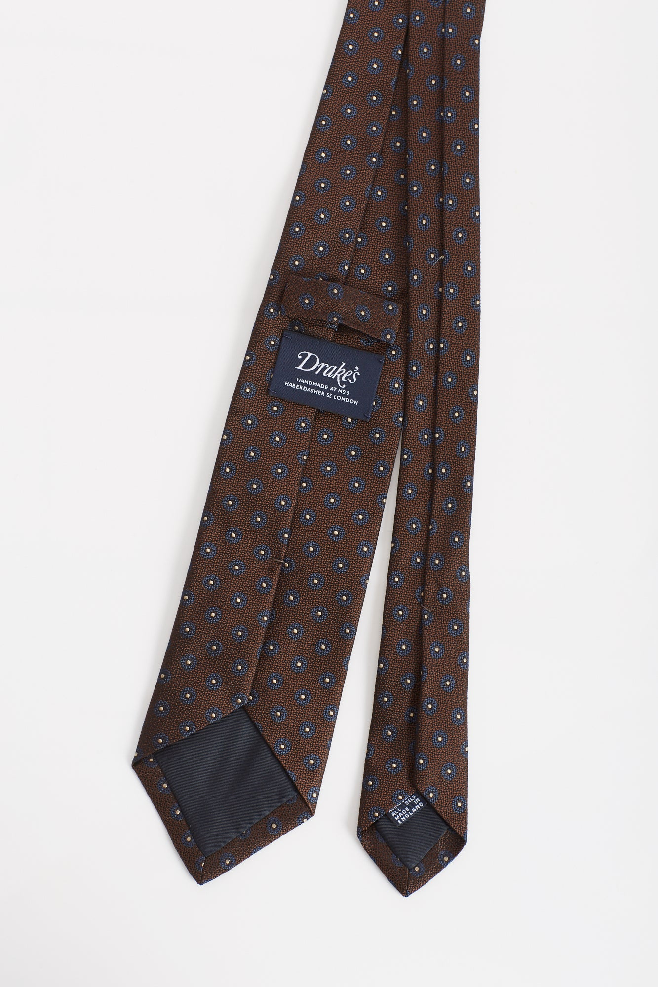 Drake's Brown Flower Print Silk Tie Back