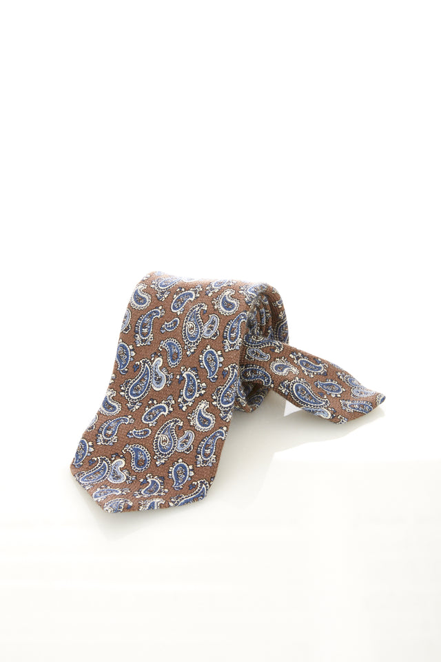 Drake's Brown Wool-Cashmere Paisley Print Tie - Accessories - Drake's - LALONDE's