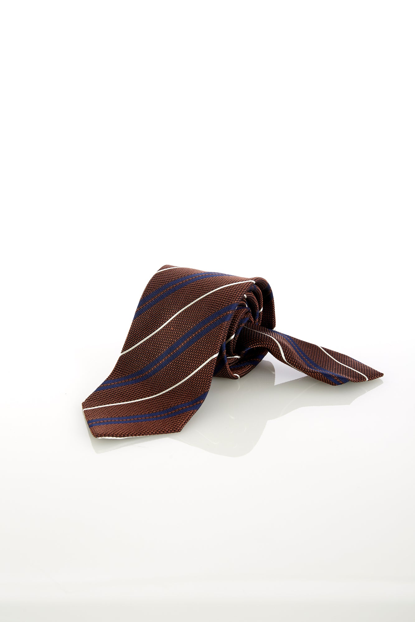 Drake's Orange Brown Woven Striped Silk Tie - Ties - Drake's - LALONDE's