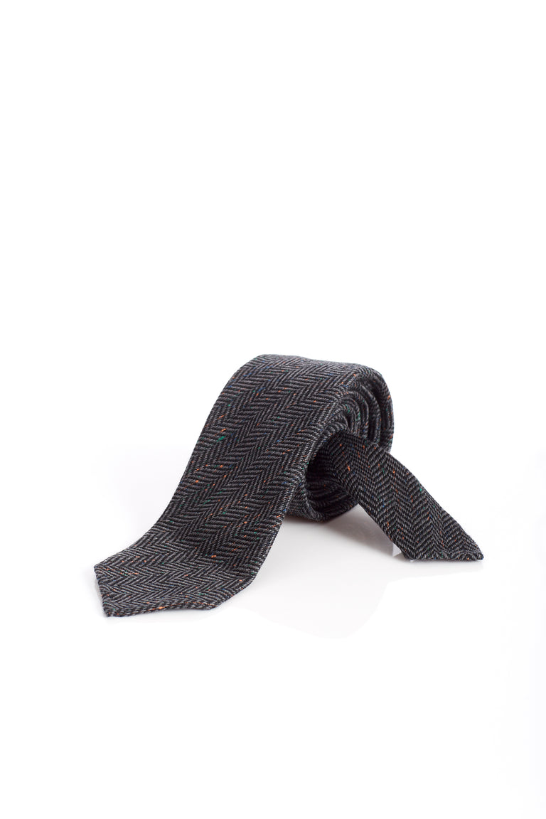 Drake's Grey Multicoloured Herringbone Wool-Silk Tie - Ties - Drake's - LALONDE's