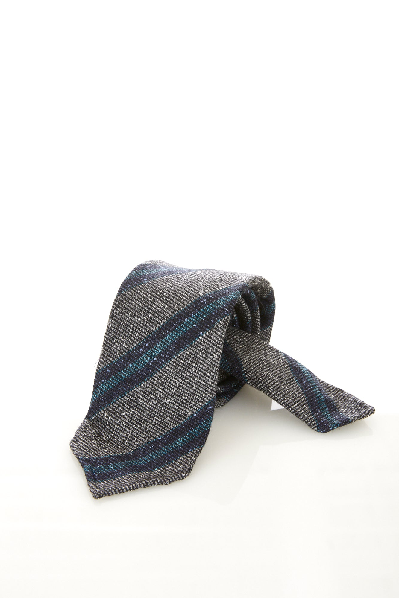 Drake's Grey Donegal Striped Tie - Accessories - Drake's - LALONDE's