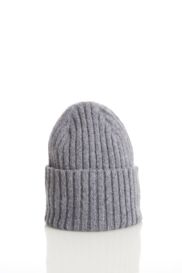 Drake's Grey Ribbed Merino Wool Hat - Accessories - Drake's - LALONDE's