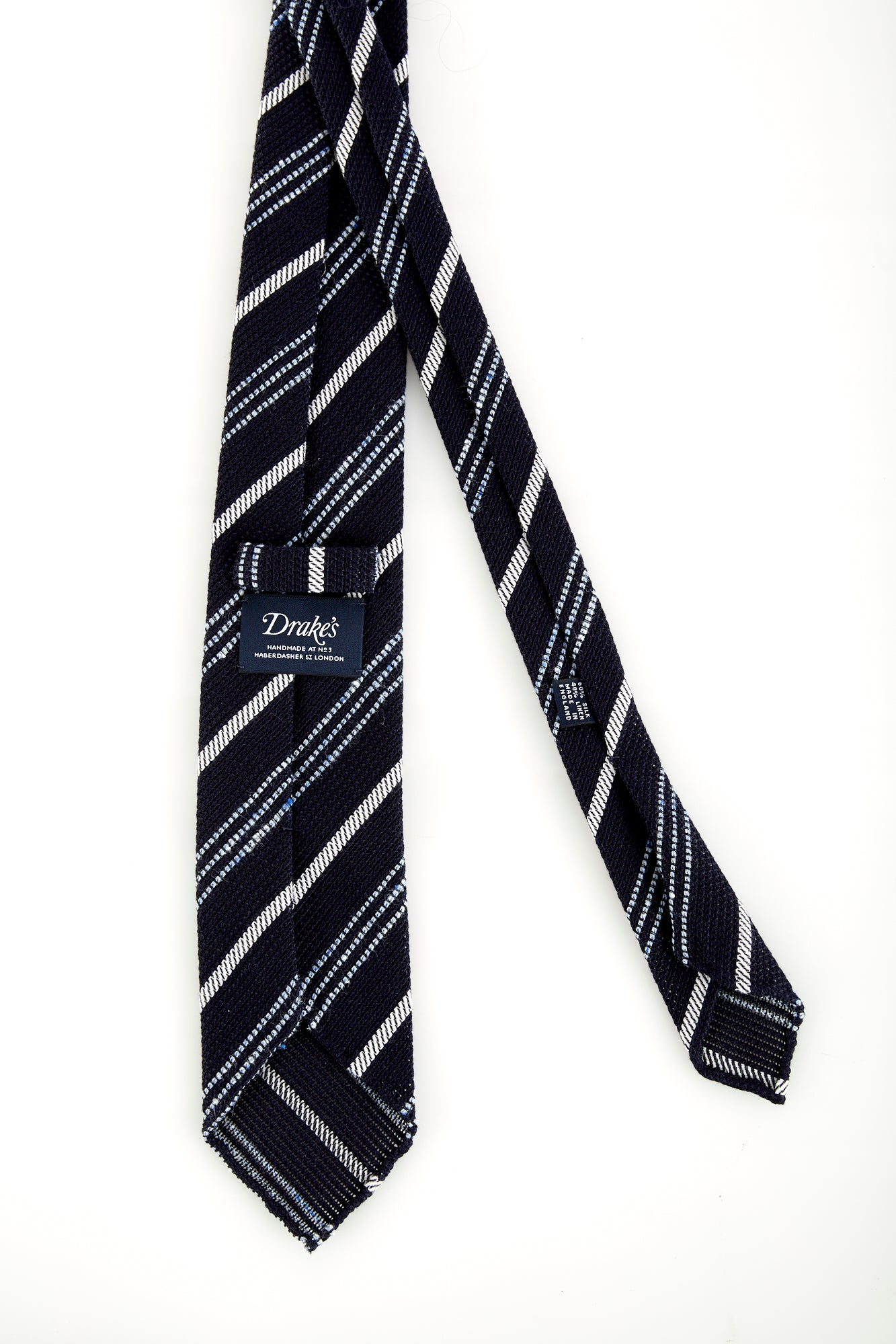 Drake's Handrolled Navy Blue Multi-stripe Silk-Linen Tie