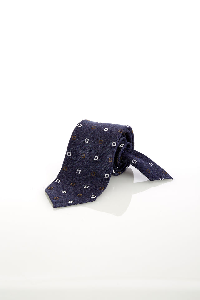 Drake's Handrolled Navy Square Print Silk-Linen Tie - Ties - Drake's - LALONDE's