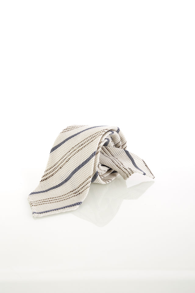 Drake's Handrolled Off White Multi-stripe Silk-Linen Tie