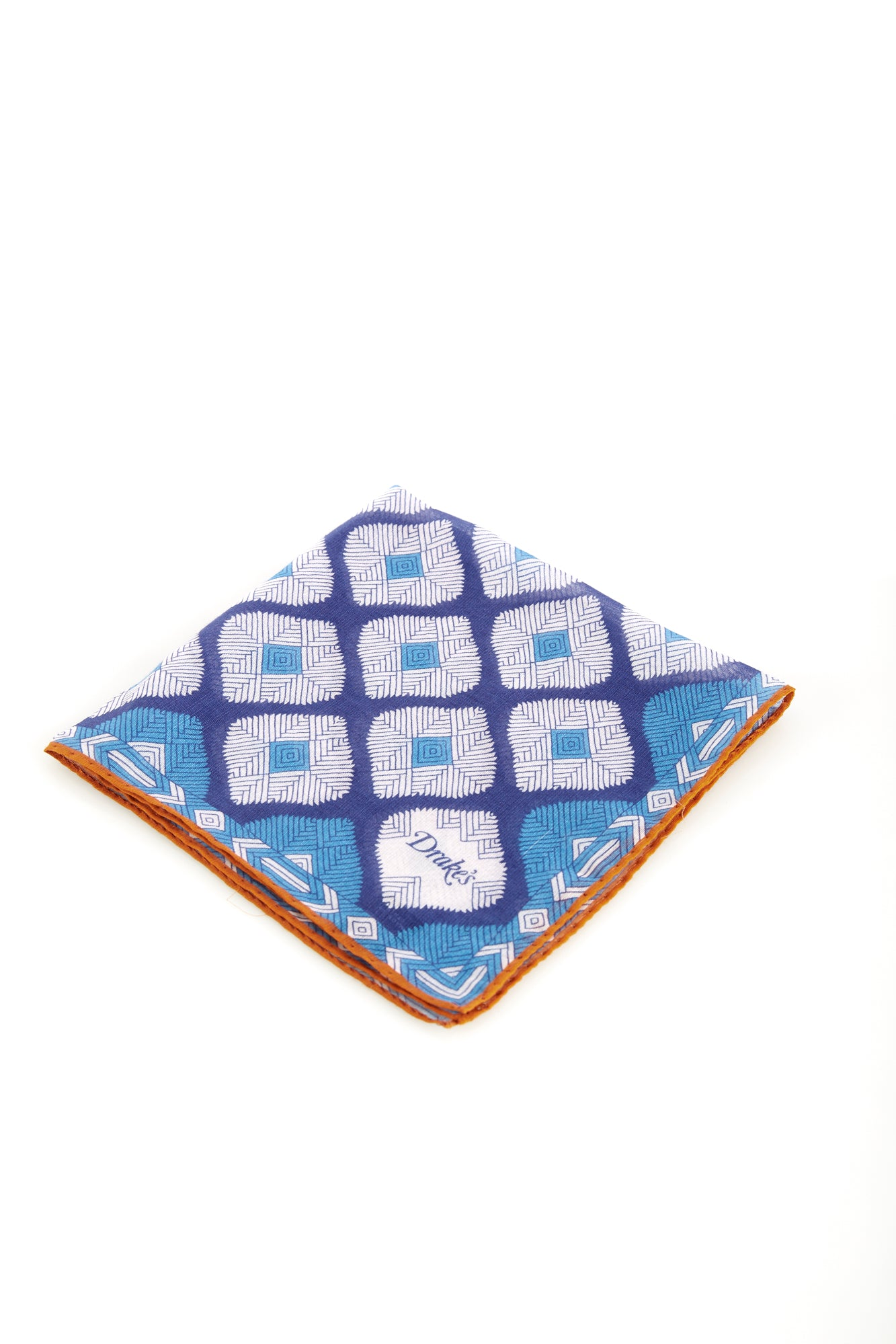 Drake's Light Blue Abstract Diamond Printed Cotton Pocket Square - Accessories - Drake's - LALONDE's