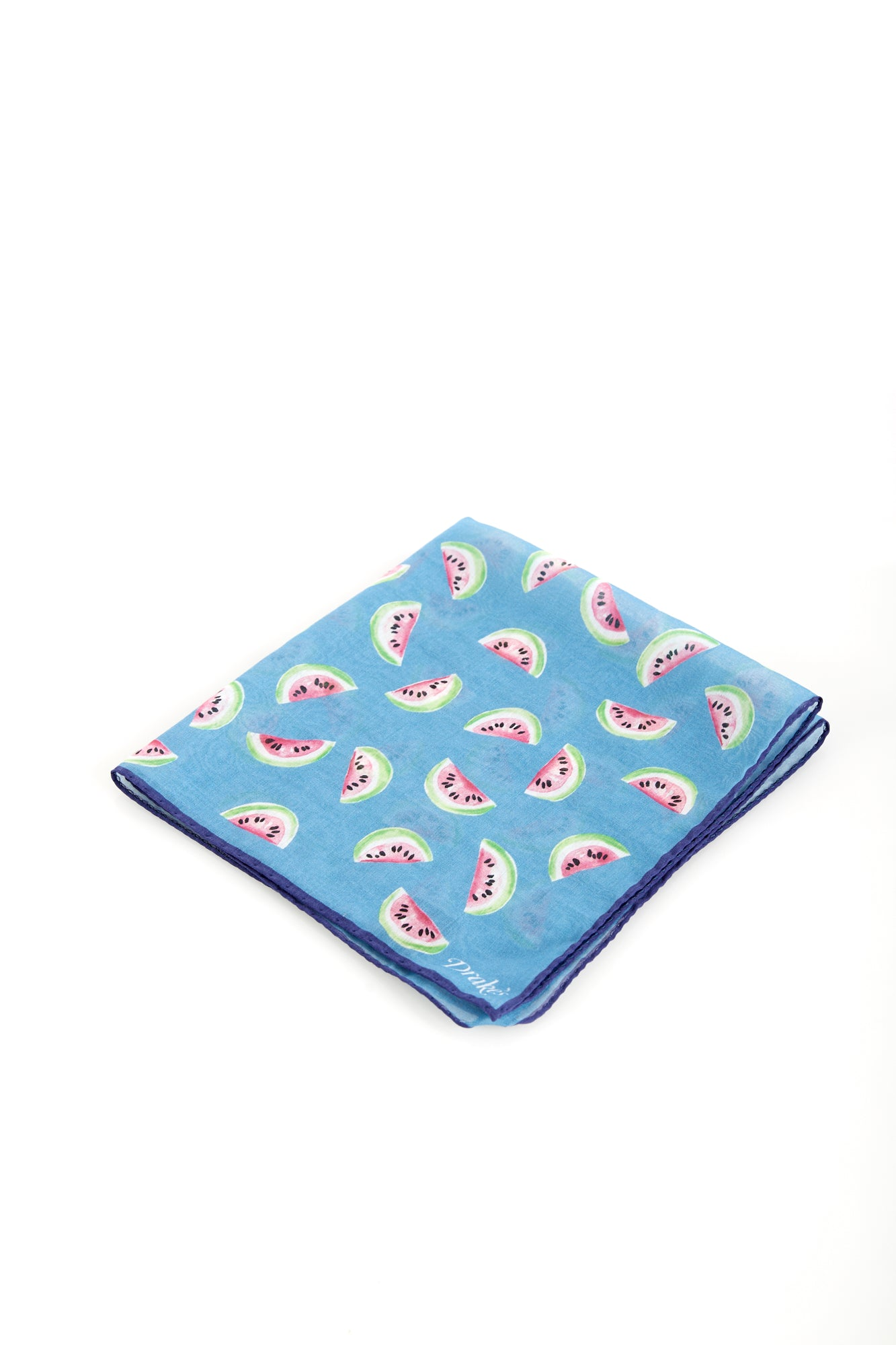 Drake's Light Blue Watermelon Pattern Cotton Blend Pocket Square - Accessories - Drake's - LALONDE's