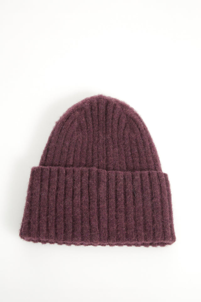 Drake's Burgundy Ribbed Merino Wool Hat - Accessories - Drake's - LALONDE's
