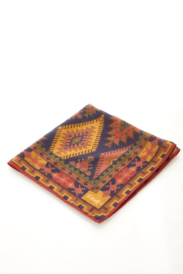 Drake's Navy Kilim Print Wool and Silk Pocket Square - Accessories - Drake's - LALONDE's