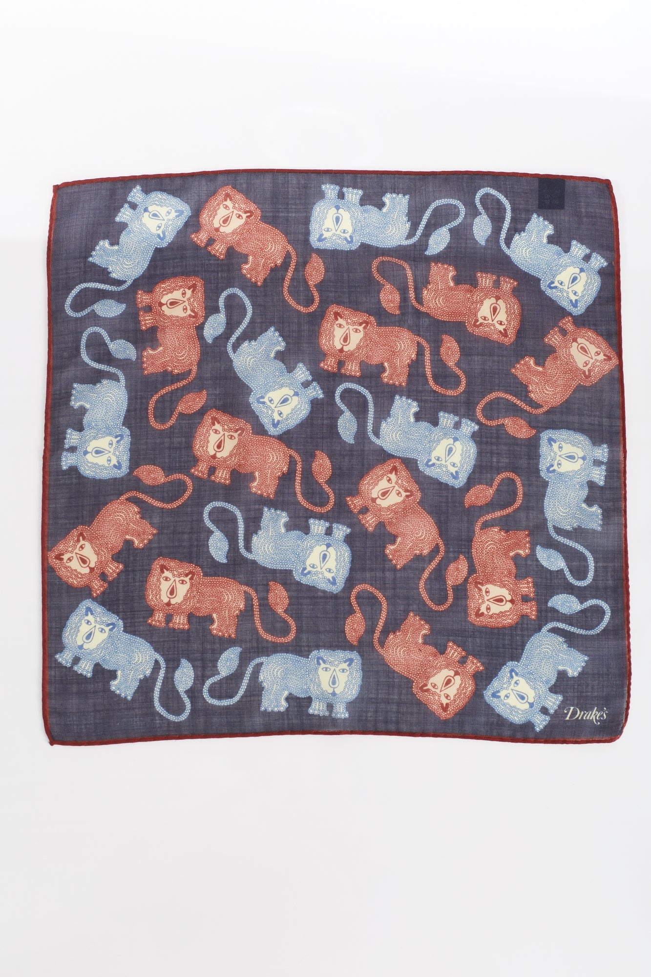 Drake's Navy Lion Print Wool and Silk Pocket Square