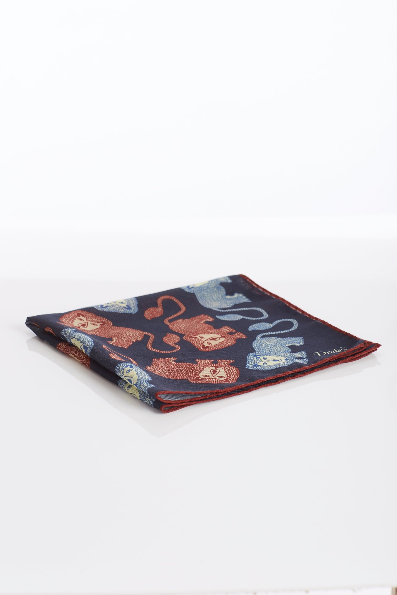 Drake's Navy Lion Print Wool and Silk Pocket Square Folded