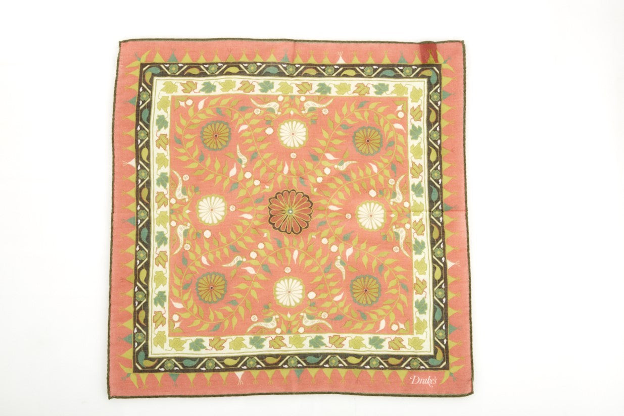 Drake's Orange Folky Printed Cotton Blend Pocket Square - Accessories - Drake's - LALONDE's