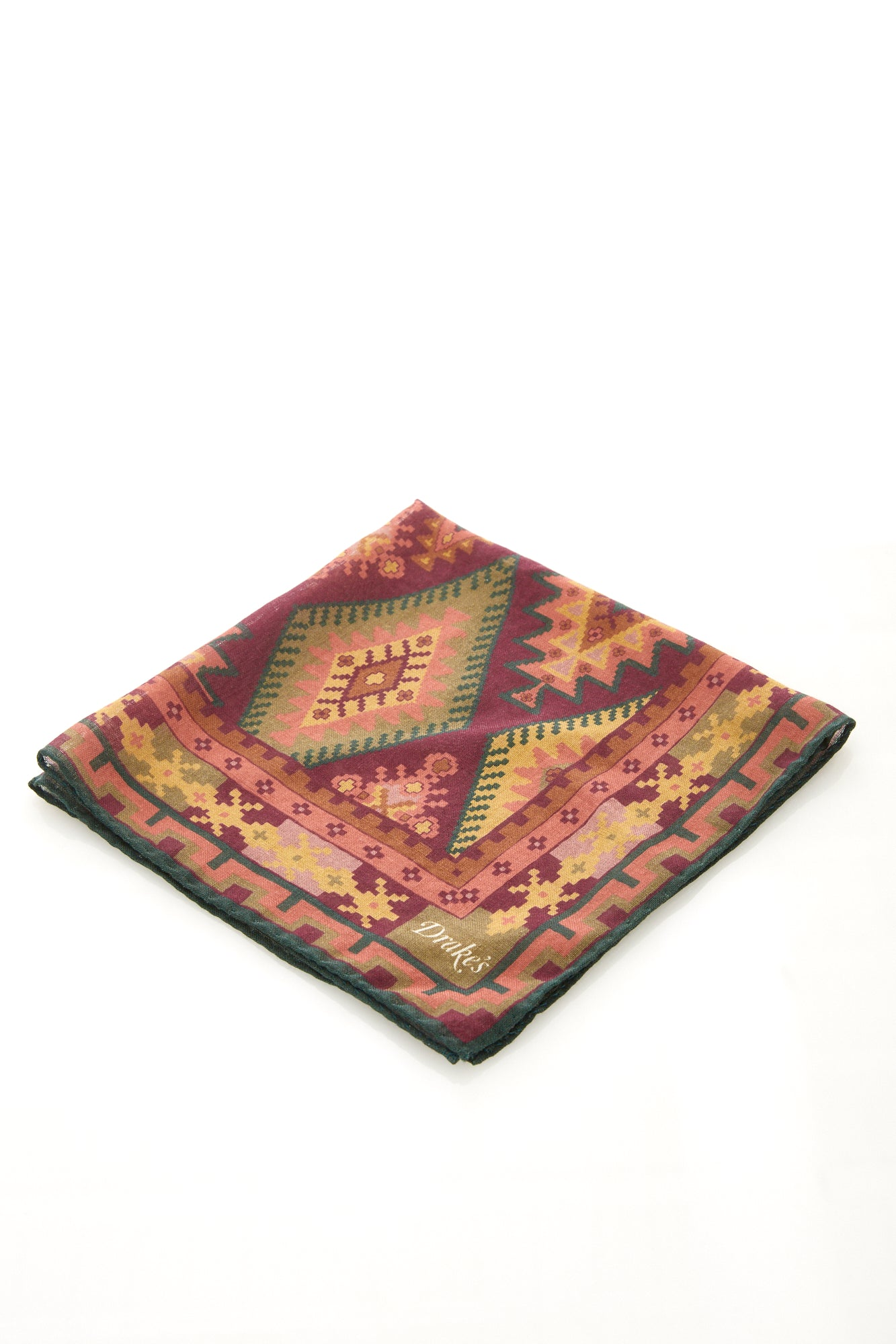 Drake's Purple Kilim Print Wool and Silk Pocket Square - Accessories - Drake's - LALONDE's