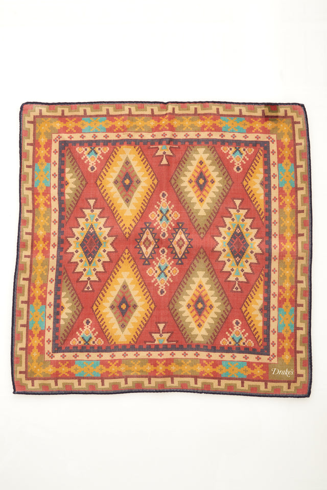 Drake's Red Kilim Print Wool and Silk Pocket Square - Accessories - Drake's - LALONDE's