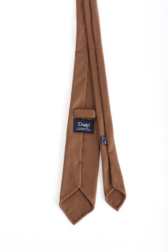 Drake's Unlined Handrolled Camel Hair Tie - Ties - Drake's - LALONDE's