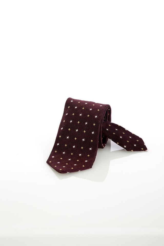Drake's Wine Woven Micro Floral Print Tie - Ties - Drake's - LALONDE's