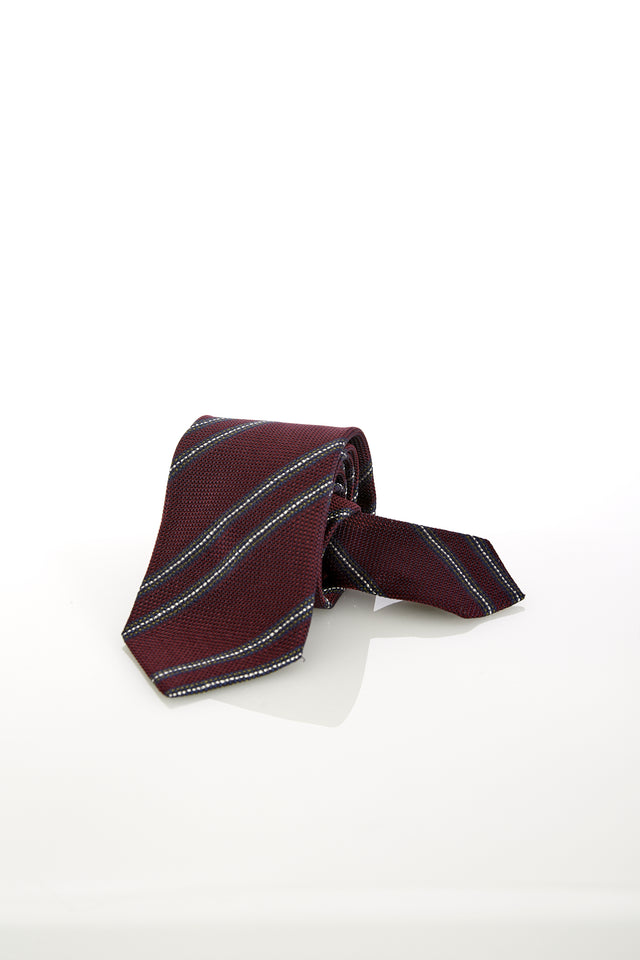 Drake's Wine Woven Striped Silk Tie - Ties - Drake's - LALONDE's
