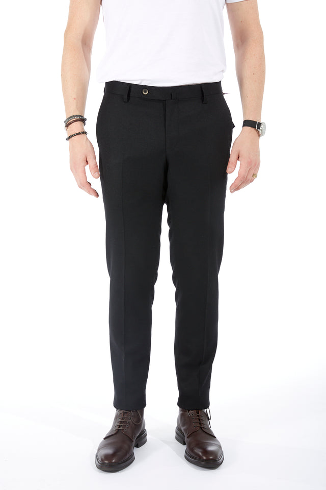 Echizenya Black Wool Stretch Twill Pant - Pants - Echizenya - LALONDE's