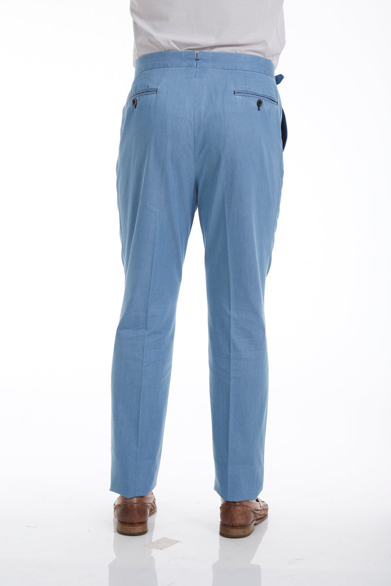 Echizenya High-Waisted Light Blue Cotton Ghurka Pleated Pants - Pants - Echizenya - LALONDE's