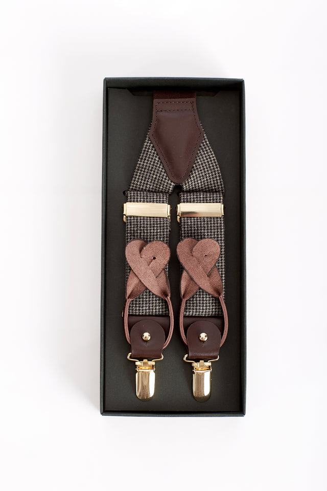 Echizenya Brown Herringbone Suspenders - Accessories - Echizenya - LALONDE's