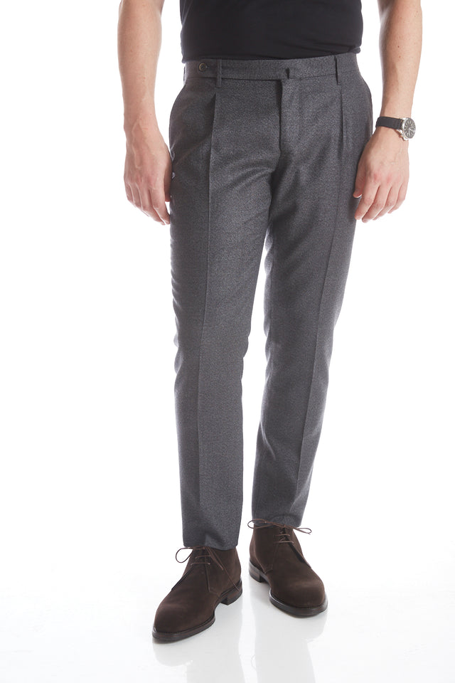Echizenya Grey Melange Pleated Wool Pants - Pants - Echizenya - LALONDE's