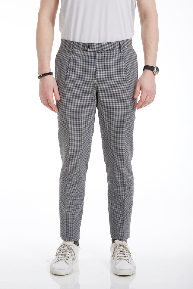 Echizenya Grey Seersucker Glencheck Trouser (no pleats) - Pants - Echizenya - LALONDE's